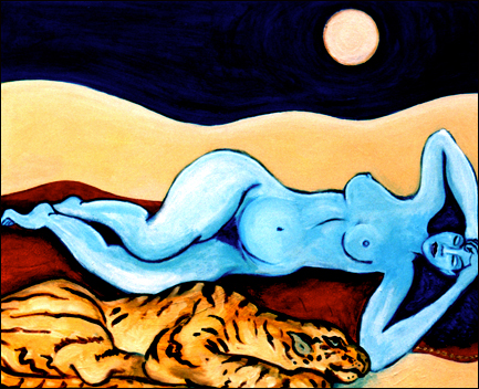 Blue Nude with Tiger